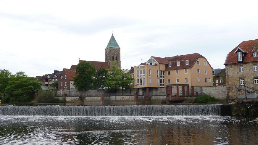 Ems Wehr an der Furt in Rheine