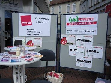 """Informationstand des Ortsverein Steinfurt """"Unbefristet ist das Ziel"""" am 06.05.2017"""