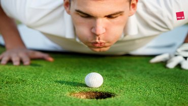 Golf pusten vor dem Ziel Ziellinie Zielgerade